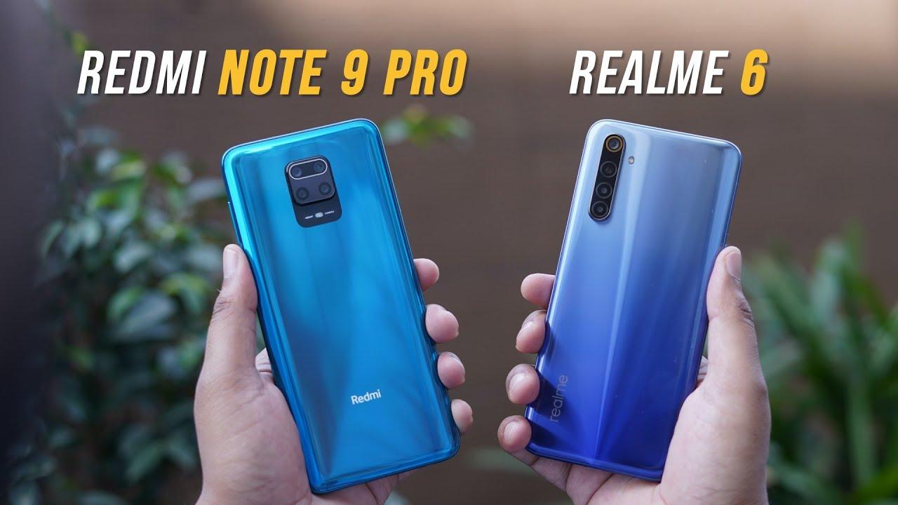 مقارنة بين هاتفي Xiaomi Redmi Note 9 Pro مع هاتف Realme 6