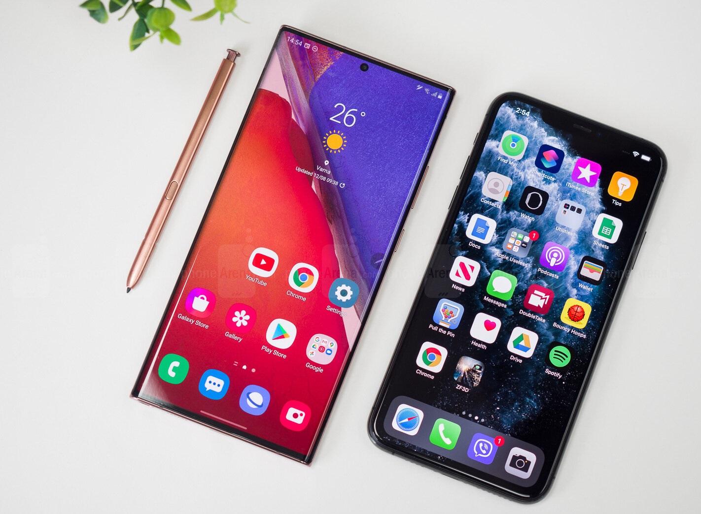 المقارنة الكاملة بين هاتفي iPhone 12 Pro Max وSamsung Galaxy Note20 Ultra